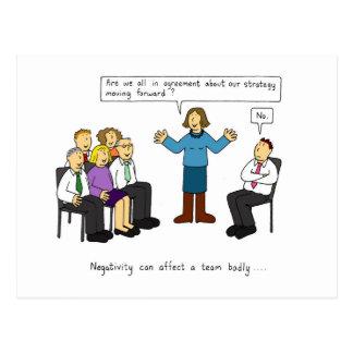 Negativität in der Arbeitsplatzstimmung Postkarte