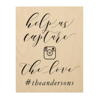Nehmen Sie das Liebe Hashtag Hochzeits-Zeichen Holzleinwände