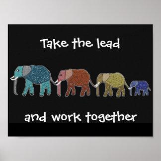 Nehmen Sie den Führungs-Elefanten motivierend Poster