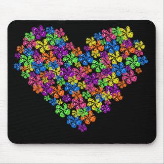 NeonBlumen-Herz Mousepad