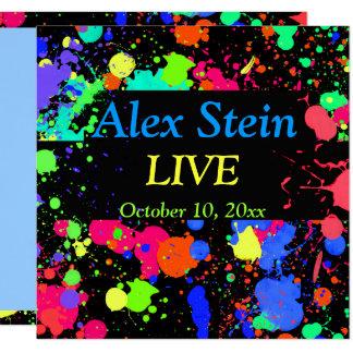 Neonfarben-Spritzer, Bar/Schläger Mitzvah Quadratische 13,3 Cm Einladungskarte