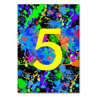Neonfarben-Spritzer, Tischnummer-Karten Karte