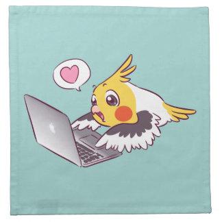 Nerdy Cockatiel niedlicher zeichnender Macbook Stoffserviette