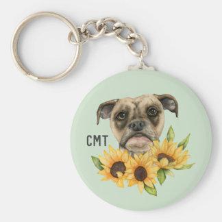 Nette | Bulldoggen-Mischung mit Monogramm der Schlüsselanhänger