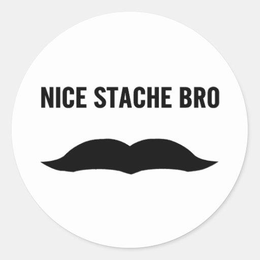 Nettes Stache Bro Runde Sticker
