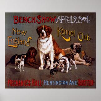 Neu-England Hundehütten-Verein-Bank-Show-Vintages Poster