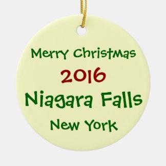 NEUE WEIHNACHTSverzierung 2016 NIAGARA FALLS NEW Rundes Keramik Ornament
