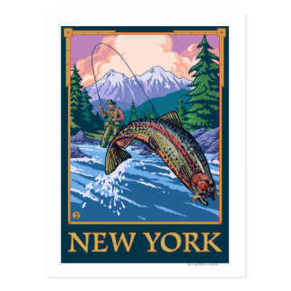 Neue YorkAngler Fischer-Szene Postkarten