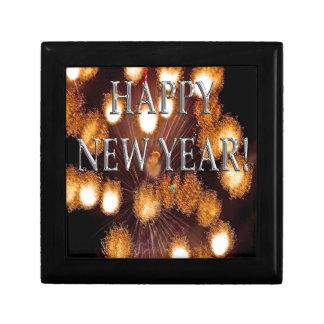 neuen Jahres der goldenen Feuerwerke Kleine Quadratische Schatulle