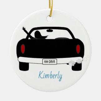 Neuer Fahrer-weibliches blaues personalisiertes Keramik Ornament