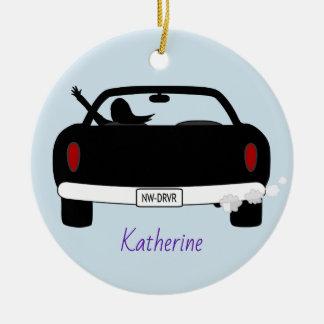 Neuer Fahrer-weibliches personalisiertes Keramik Ornament