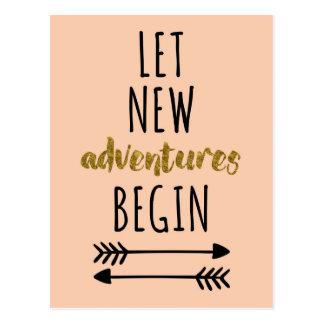 Neues Abenteuer-Zitat Postkarten