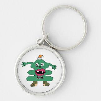 Neues Jahr-Baum-Monster-Gewohnheit Keychain Silberfarbener Runder Schlüsselanhänger