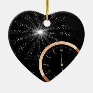 Neues Jahr-Feuerwerk Keramik Herz-Ornament