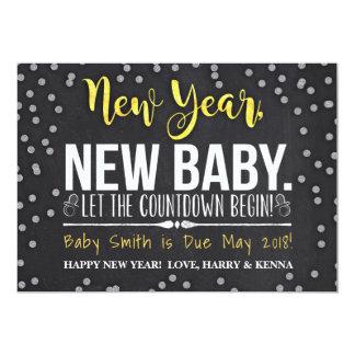 Neues Jahr, neue Baby-Schwangerschafts-Mitteilung Karte