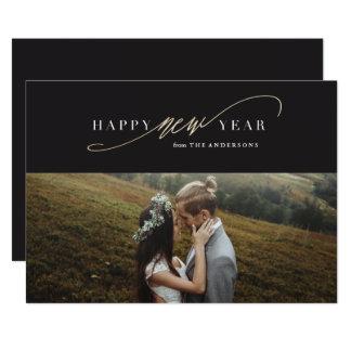 Neues Jahr-Skript-Imitat-Goldfeiertags-Foto-Karte 12,7 X 17,8 Cm Einladungskarte