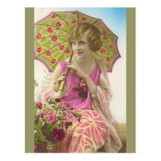 Neues Kleid und Sonnenschirm Postkarte