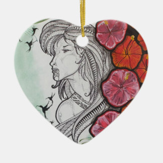 Neugier-Polynesier Keramik Herz-Ornament
