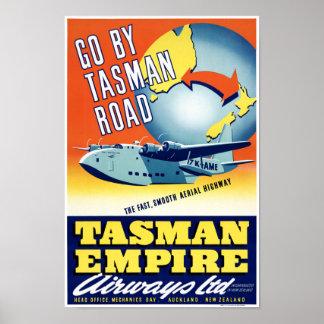 Neuseeland gehen durch Tasman Straßen-Vintages Poster