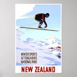 Neuseeland-Winter-Sport-Vintages Reise-Plakat Poster