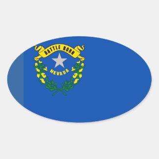 Nevada-Flaggen-Euro-Ähnliches Oval Ovaler Aufkleber