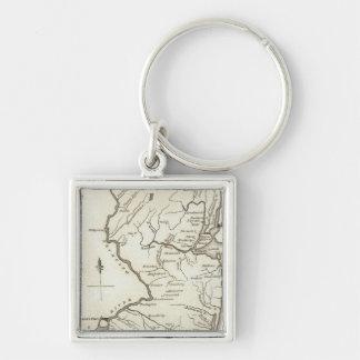 New-Jersey 13 Silberfarbener Quadratischer Schlüsselanhänger