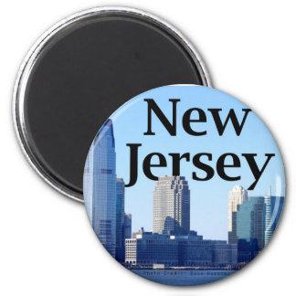 New-Jersey Skyline mit New-Jersey im Himmel Runder Magnet 5,7 Cm