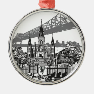 New Orleans Louisiana Rundes Silberfarbenes Ornament