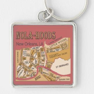 New- Orleansnachbarschafts-Karte, NOLA_HOODS Silberfarbener Quadratischer Schlüsselanhänger