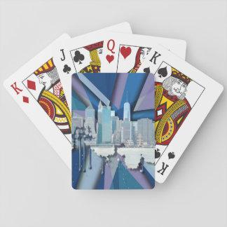 New- York CitySkyline | blaues 3D Spielkarten