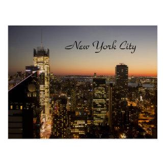 New- York Citysonnenuntergang-Skyline Postkarte