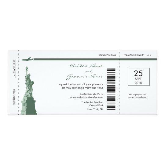 New- YorkBoarding-Durchlauf-Hochzeits-Einladungen 10,2 X 23,5 Cm Einladungskarte