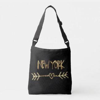 New- Yorkgoldblick-Typografie USA-Stadt elegant Tragetaschen Mit Langen Trägern