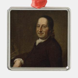 Nicholaus Ludwig Count von Zinzendorf Quadratisches Silberfarbenes Ornament