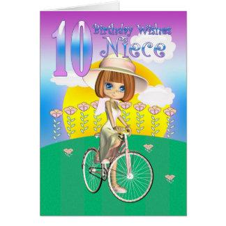 Nichten-10 Geburtstags-Karte mit kleinem Mädchen