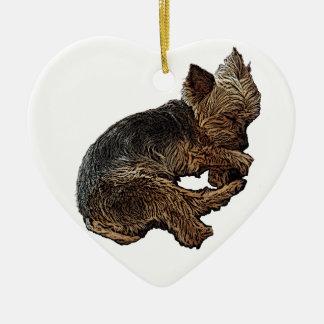 Nickerchen machendes Yorkie Keramik Herz-Ornament