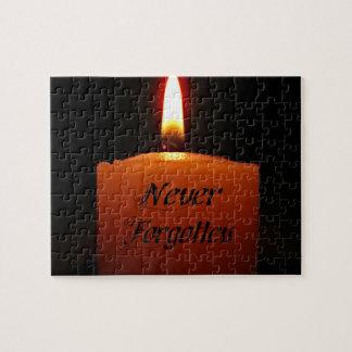 Nie vergessene Erinnerungs-Kerzen-Flamme Puzzle