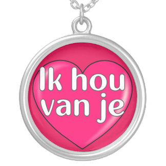 Niederländisch - i-Liebe Sie Halskette Mit Rundem Anhänger