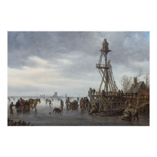 Niederländische Eis-Szene bis Januar van Goyen Poster