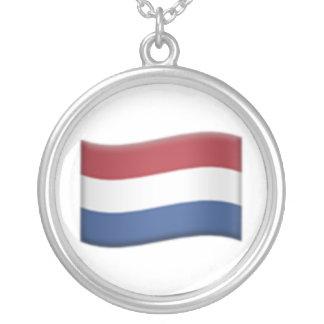 Niederländische Flagge - Emoji Halskette Mit Rundem Anhänger