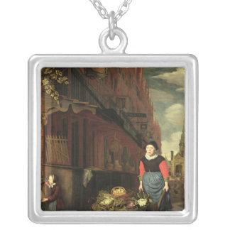 Niederländische Genre-Szene, 1668 Halskette Mit Quadratischem Anhänger