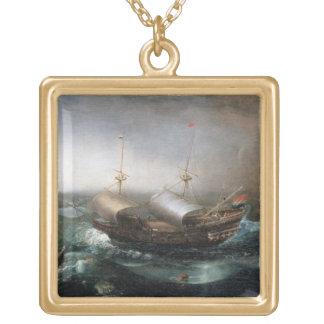 Niederländische Handelsschiffe und ein Smalschip Halskette Mit Quadratischem Anhänger