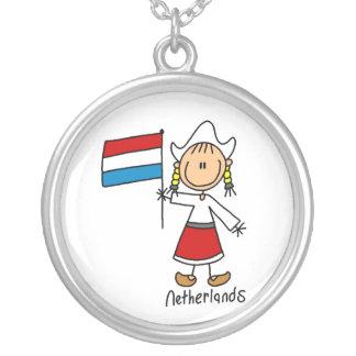 Niederländische Strichmännchen-Jungen-Halskette Halskette Mit Rundem Anhänger