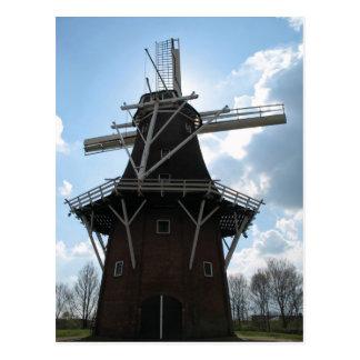 Niederländische Windmühlen-Silhouette-Postkarte Postkarte