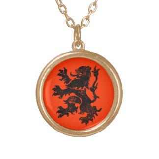 Niederländischer Löwe Halskette Mit Rundem Anhänger