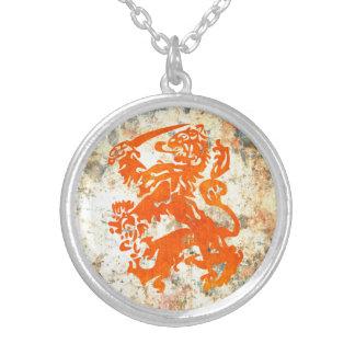 Niederländischer Republik-Löwe Halskette Mit Rundem Anhänger