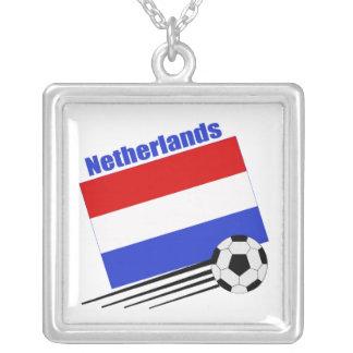 Niederländisches Fußball-Team Halskette Mit Quadratischem Anhänger
