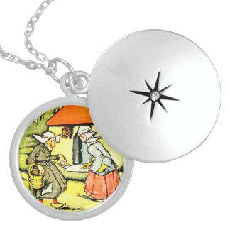Niederländisches Mädchen und alte Dame Sterling Silberkette