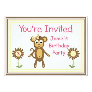Niedliche Affe-Mädchen-Geburtstags-Party Einladung