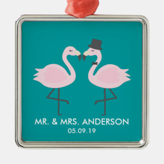 Niedliche aquamarine Flamingo-Paare Silbernes Ornament